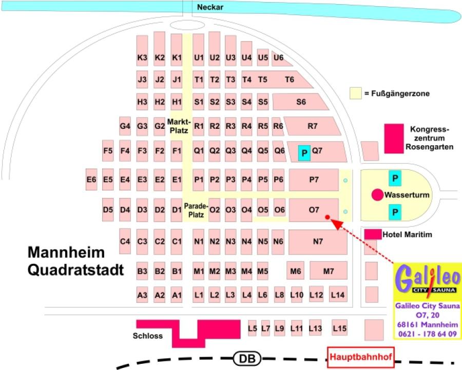 Stadtplan - Galileo. Die Gay-Sauna für Männer in Mannheim.